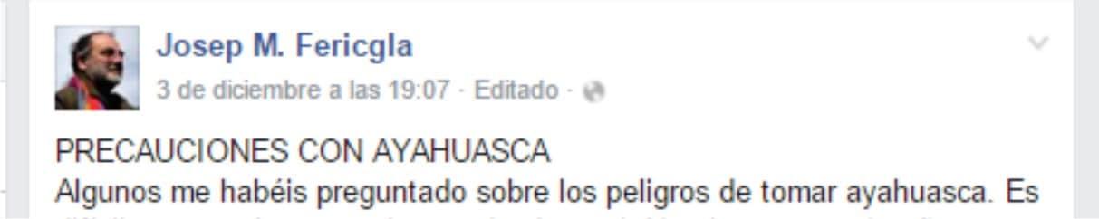 fericgla facebook peligros con la ayahuasca